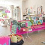 Living Room, Pink Sofa, White Wall, Wooden Floor, White Dining Set, White Bookshelves, Tray Side Table