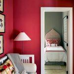 Living Room, White Marble, Magenta Wall, White Benh White Cushion, White Floor Lamp, White Wooden Door