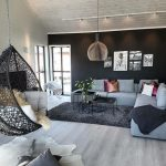 Living Room, Wooden Floor, Black Rug, Soft Blue Sofa, Black Tray Square Coffee Table, Black Rattan Swing, Pendant, Black Wall, White Wall