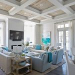 Living Room, Wooden Floor, White Sofa, Blue Chairs, White Plank Wall, Wooden Ceiling, White Beams