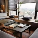 Living Room, Wooden Window Seat, Wooden Table, Wooden Floor, Black Table, Grey Cushion