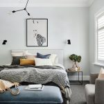 Master Bedroom, Grey Floor, White Wall, White Ceiling, Whtie Headboard, Blue Velvet Bench, Beige Chair
