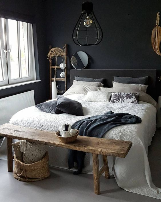 master bedroom, grey seamless floor, black wall, black headboard, pendant, wooden bench, white bedding, wooden rack, window