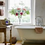 Modern Bathroom, Wooden Floor, White Wall, White Tub With Claw Foot, Wooden Table