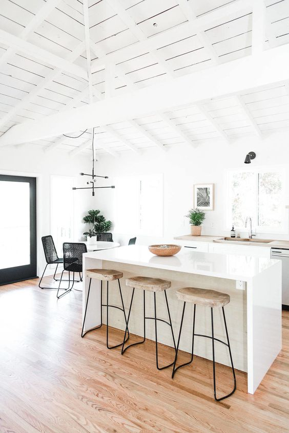open kitchen, white wooden vaulted ceiling, wooden floor, black white dining set, white island, marbled stools