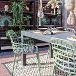 Patio, Brown Floor Tiles, Open Brick, Wooden Table, Green Chairs, Rattan Hanging Pots