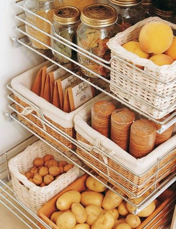 rattan baskets in metal racks for seasoning and vegetables