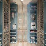 Rattan Grid Doors On Walking Closet, Wooden Floor, Blue Built In Shelves
