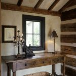Rustic Console Table With Drawers Black Framed Window Frame Candles Holder Rustic Table Lamp Small Statue Rattan Basket Wood Beams Wood Floor