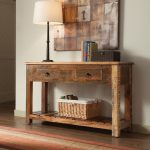 Rustic Console Table With Drawers Brown Wall Art White Table Lamp Rattan Basket Colorful Rug White Walls Drawers Rustic Black Hardware