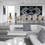 Sunken Living Room, Grey Floor, Grey Stairs, Grey Built In Bench, White Cushion, White Coffee Table, Seamless Floor, Dining Set