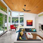 Sunken Living Room, Wooden Pit Floor, White Rim, Dark Grey Cushion, Pillows, Seamless Floor, White Wall, Red Chair, Wooden Ceiling, Black Ceiling