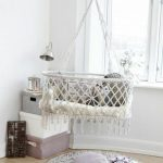 White Macrame Bed Swing, Light Wooden Floor, White Wall, Round Rug, Pillows