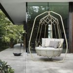 White Metal Swing With Framed, White Thick Cushion, White Pillows
