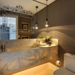 White Yellow Floating Marble Vanity, Brown Wall, Mirror, White Marble, Pendants, White Toilet