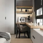 Window Nook, Floating Wooden Table, Floating Shelves, White Cabinet, Wooden Platform, White Bedding, White Cupboard
