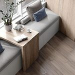 Window Nook, White Built In Bench, Grey Cushion, Wooden Adjustable Table, Wooden Wall