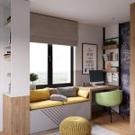 Window Seat, With White Storage, Yellow Cushion, Grey Shade, Wooden Table, Green Chair, Wooden Floor, Grey Wall, Floating Shelves