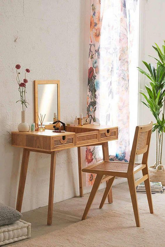 wooden make up table and chairs with rattan details, opened mirror
