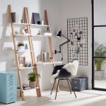 Wooden Racks, White Boards Shelves, White Table, Black Modern Chair, Black Pendant, Black Wired