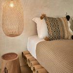 Bamboo Bed Platform, Brown Floor, Cream Wall, Rattan Rug, Rattan Pendant