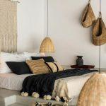 Bedroom, Grey Seamless Floor, White Wall, Grey Ceiling, White Bed Linen, Rattan Pendant