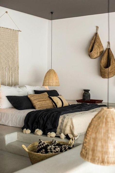 bedroom, grey seamless floor, white wall, grey ceiling, white bed linen, rattan pendant