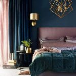 Bedroom, White Rug, Pink Headboard, Green Blanket, Green Wall, Golden Pendant, Golden Geometric Pendant