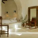 Bedroom, White Seamless Floor, White Wall, White Nook With Arch, White Linen, Rocking Chair, Wooden Chair