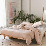 Bedroom, Wooden Floor, Wooden Bed Platform, White Wall, Brown Rug