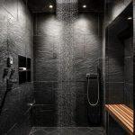 Black Stone Marble Wall, Vertical Shower, Wall Nook, Wooden Shelves, Built In Shelves