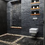 Black Stone Wall, Black Marble Floor, River Stones Floor, Wall Nook, Built In Shevles, White Floating Toilet