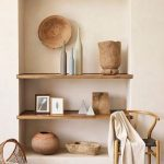 Built In Shelves, Wooden Shelves, Grey Stone, Wooden Chair