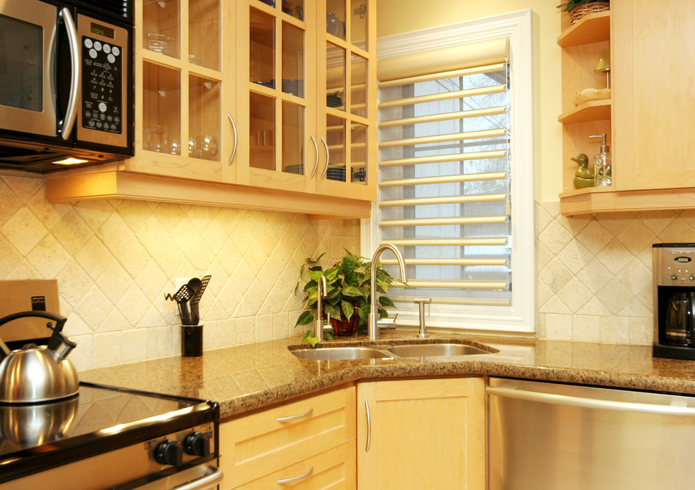 corner kitchen sink cabinet windows shade open shelves glass cabinet doors granite countertop stovetop double sink dishwasher oven backsplash drawers