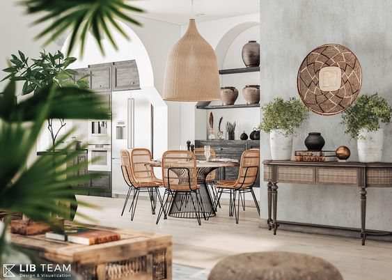 dining room, wooden floor, grey wall, console table, rattan chairs, marble round dining table, rattan pendant, built in shelves, wooden boards