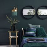 Green Fringe Sconce With Golden Accent, Dark Green Wall, Dark Green Bed, White Floor, Golden Side Table