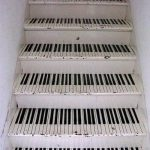 Horizontal Black White Piano Keys, White Wall