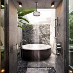 Outdoor Shower, Arch, Vertical Shower, Bowl Tub With White Inside, River Stones