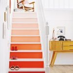 Pink Gradation Stairs With White Top, White Wooden Rail, White Wall, Wooden Floor