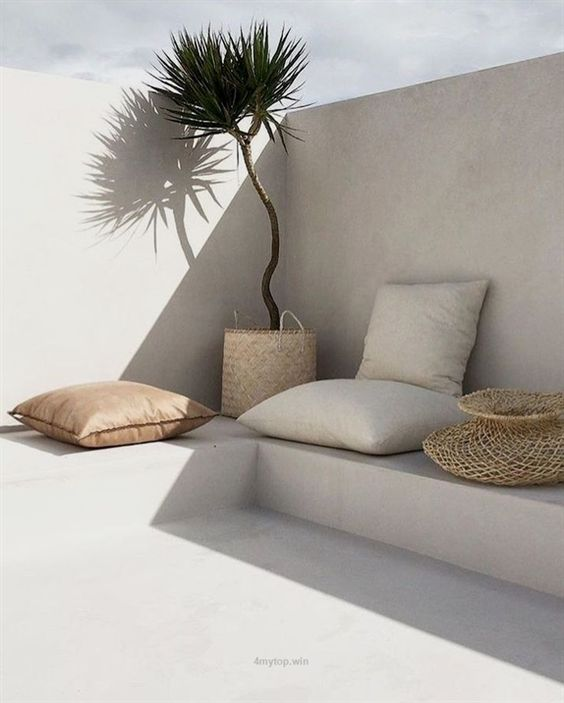 seamless wall, bench, and floor outside, plant, pillows, basket