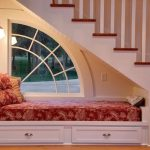 Seats Under The Stairs, White Built In Bench With Drawers, Window, White Wall, White Stiars