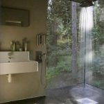 Shower, Cream Wall, Cream Marble Floating Sink, Shower, Tall Glass Window