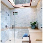 Shower Room, Brown Floor Marble, White Stones Wall, Glass Partition, Gass Window On The Ceiling, Brown Marble Sink