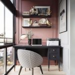 Study, Pink Accent Wall, Brown Floor, White Wall, Black Wooden Table, Gery Black Chair