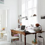 Study, Wooden Table, Whtie Floor, White Wall, White Framed Glass Window