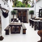 White Patio, Seamless Floor, Dark Brown Wooden Dining Set, Dark Wooden Door