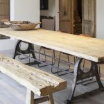 Wooden Dining Table With Metal Legs, Wooden Bench, Wooden Floor, White Wall, Wooden Door