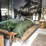 Wooden Platform, Green Linen, Grey Floor, Rug, Wooden Bench, Pendant