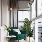 Balcony, Wooden Floor, Curtain, Green Chair, Side Table, White Sconces, White Pot