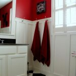 Bathroom, Black White Checkered Floor, White Wainscoting, Red Wall, White Framed Window, White Anity, White Framed Mirror